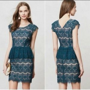 Anthropologie Maeve Green Lace Dress